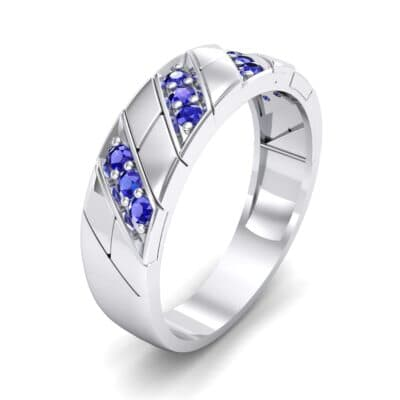 Diagonal Pave Blue Sapphire Ring (0.3 CTW) Perspective View