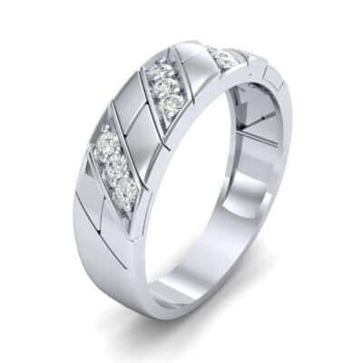 Diagonal Pave Diamond Ring (0.3 CTW) Perspective View