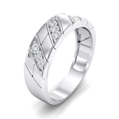 Diagonal Pave Crystal Ring (0.3 CTW) Perspective View