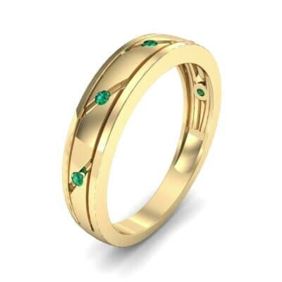 Diagonal Burnish Emerald Ring (0.05 CTW)