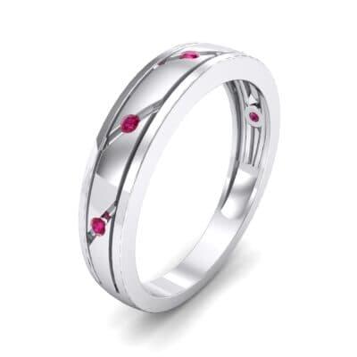 Diagonal Burnish Ruby Ring (0.05 CTW)