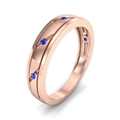 Diagonal Burnish Blue Sapphire Ring (0.05 CTW)
