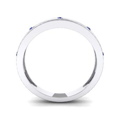 Diagonal Burnish Blue Sapphire Ring (0.05 CTW) Side View