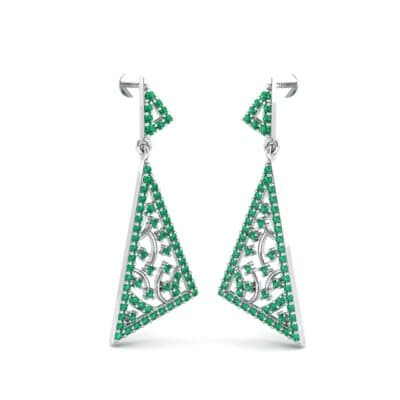 Pave Mosaic Emerald Earrings (1.41 CTW) Perspective View