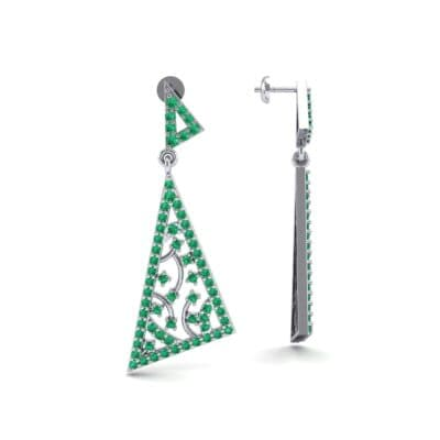 Pave Mosaic Emerald Earrings (1.41 CTW) Top Dynamic View