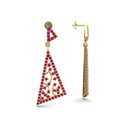 Pave Mosaic Ruby Earrings (1.41 CTW) Top Dynamic View