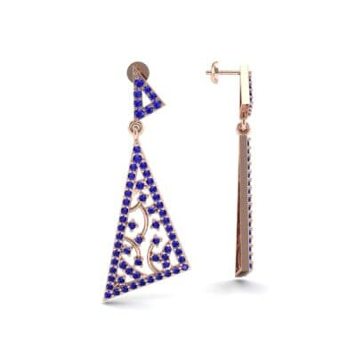 Pave Mosaic Blue Sapphire Earrings (1.41 CTW) Top Dynamic View