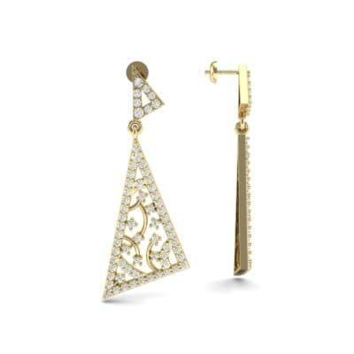 Pave Mosaic Diamond Earrings (1.41 CTW) Top Dynamic View