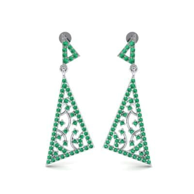 Pave Mosaic Emerald Earrings (1.41 CTW) Side View