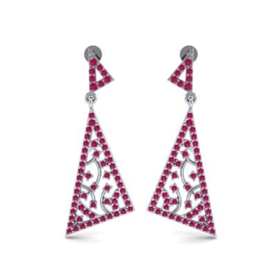 Pave Mosaic Ruby Earrings (1.41 CTW) Side View