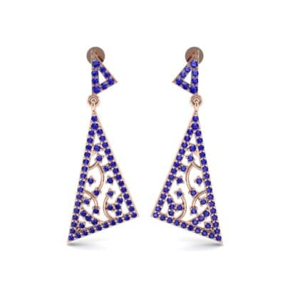 Pave Mosaic Blue Sapphire Earrings (1.41 CTW) Side View