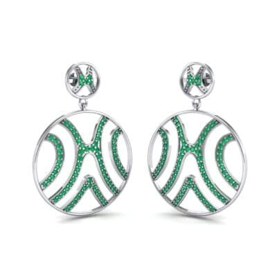 Pave Sahara Emerald Earrings (1.63 CTW) Perspective View