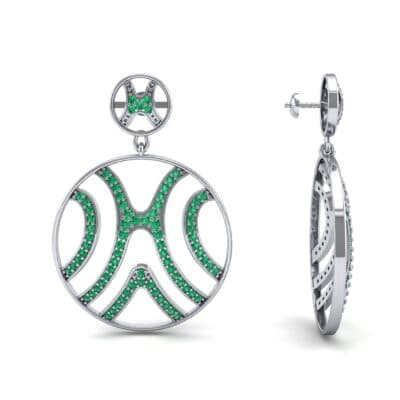 Pave Sahara Emerald Earrings (1.63 CTW) Top Dynamic View