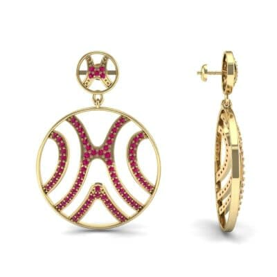 Pave Sahara Ruby Earrings (1.63 CTW) Top Dynamic View