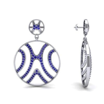 Pave Sahara Blue Sapphire Earrings (1.63 CTW) Top Dynamic View