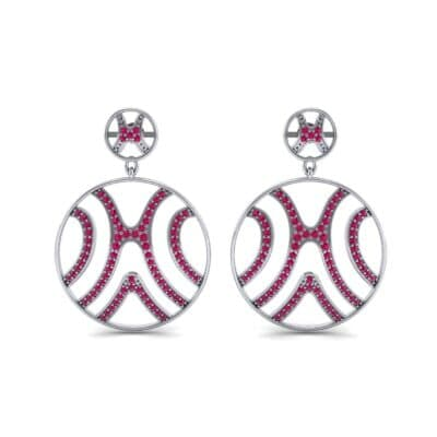 Pave Sahara Ruby Earrings (1.63 CTW) Side View
