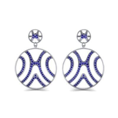 Pave Sahara Blue Sapphire Earrings (1.63 CTW) Side View