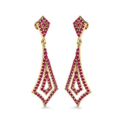 Nested Kite Ruby Earrings (1.34 CTW) Perspective View