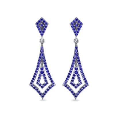 Nested Kite Blue Sapphire Earrings (1.34 CTW) Side View