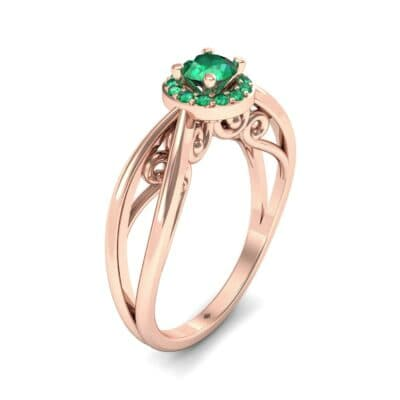 Ornate Gallery Halo Emerald Engagement Ring (0.49 CTW)