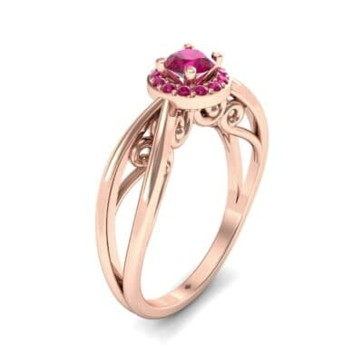 Ornate Gallery Halo Ruby Engagement Ring (0.49 CTW)