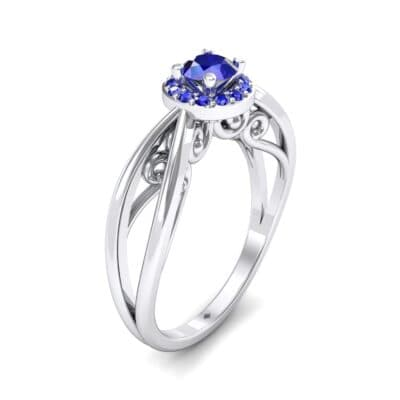 Ornate Gallery Halo Blue Sapphire Engagement Ring (0.49 CTW)