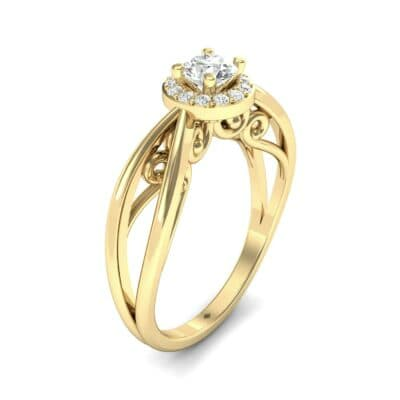 Ornate Gallery Halo Diamond Engagement Ring (0.49 CTW)