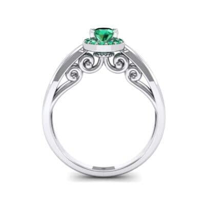 Ornate Gallery Halo Emerald Engagement Ring (0.49 CTW) Side View
