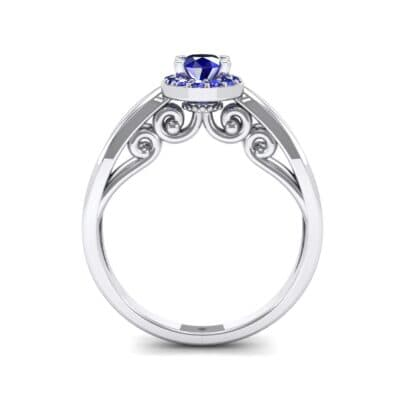 Ornate Gallery Halo Blue Sapphire Engagement Ring (0.49 CTW) Side View