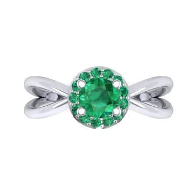 Ornate Gallery Halo Emerald Engagement Ring (0.49 CTW) Top Flat View