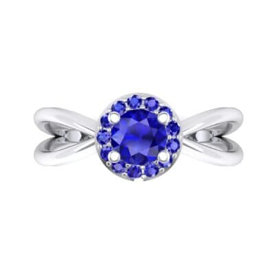 Ornate Gallery Halo Blue Sapphire Engagement Ring (0.49 CTW) Top Flat View