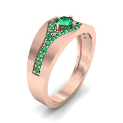 Inset Pave Champion Emerald Engagement Ring (0.52 CTW)