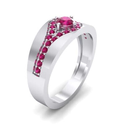 Inset Pave Champion Ruby Engagement Ring (0.52 CTW)