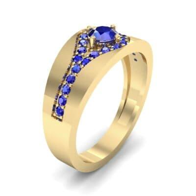 Inset Pave Champion Blue Sapphire Engagement Ring (0.52 CTW)