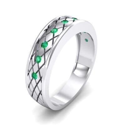 Crosshatch Burnish Emerald Ring (0.31 CTW)