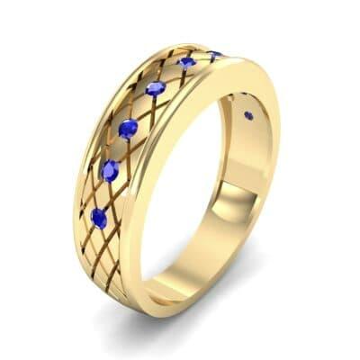 Crosshatch Burnish Blue Sapphire Ring (0.31 CTW)