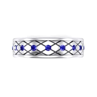 Crosshatch Burnish Blue Sapphire Ring (0.31 CTW) Top Flat View