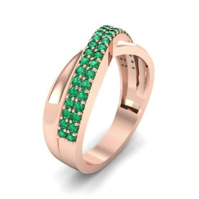 Half-Pave Twist Emerald Ring (0.68 CTW) Perspective View