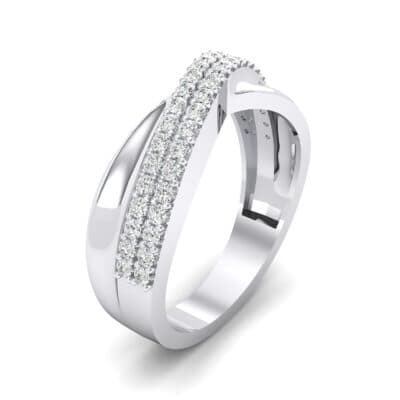 Half-Pave Twist Crystal Ring (0.68 CTW) Perspective View