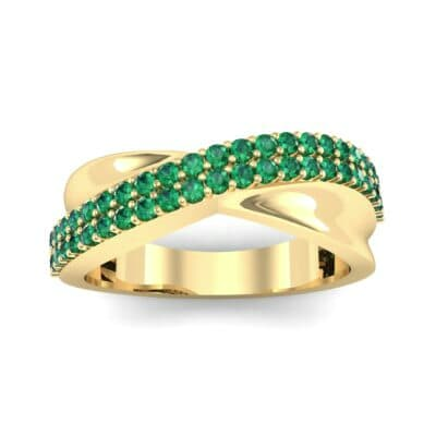 Half-Pave Twist Emerald Ring (0.68 CTW) Top Dynamic View