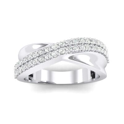Half-Pave Twist Crystal Ring (0.68 CTW) Top Dynamic View