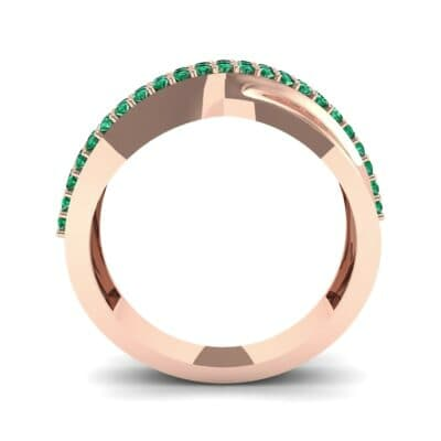 Half-Pave Twist Emerald Ring (0.68 CTW) Side View