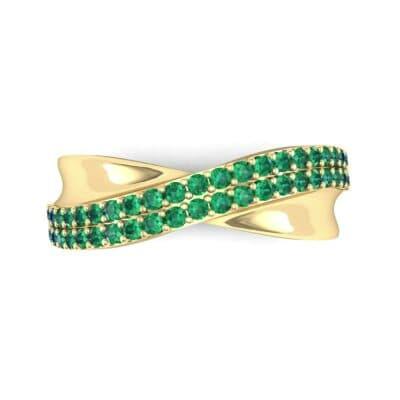 Half-Pave Twist Emerald Ring (0.68 CTW) Top Flat View