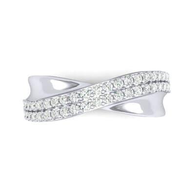 Half-Pave Twist Diamond Ring (0.68 CTW) Top Flat View
