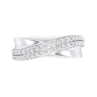 Half-Pave Twist Crystal Ring (0.68 CTW) Top Flat View