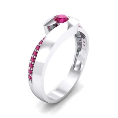 Half-Pave Ruby Bypass Engagement Ring (0.48 CTW) Perspective View