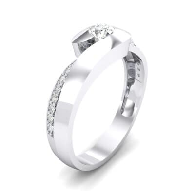 Half-Pave Crystal Bypass Engagement Ring (0.48 CTW) Perspective View