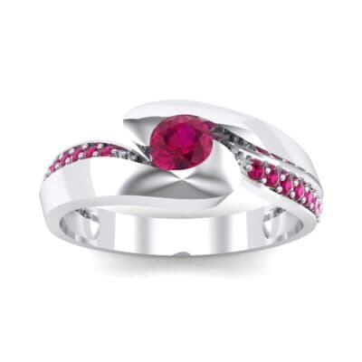 Half-Pave Ruby Bypass Engagement Ring (0.48 CTW) Top Dynamic View