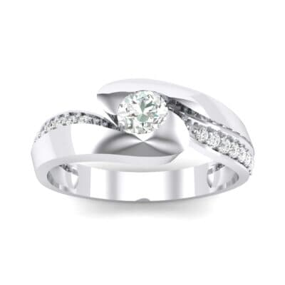 Half-Pave Crystal Bypass Engagement Ring (0.48 CTW) Top Dynamic View