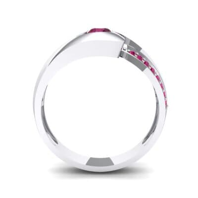 Half-Pave Ruby Bypass Engagement Ring (0.48 CTW) Side View